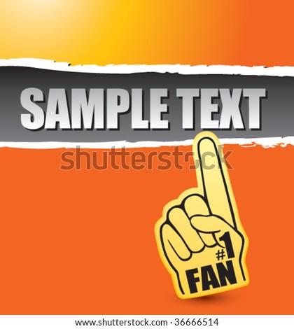 fan foam hand on orange ripped banner
