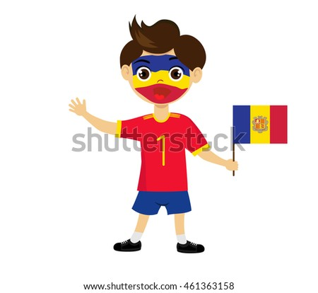 Fan of Andorra la Vella national football team, sports. Boy with flag in the colors of the state command with sports paraphernalia. #461363158