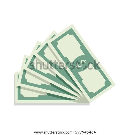 fan of banknotes vector bill