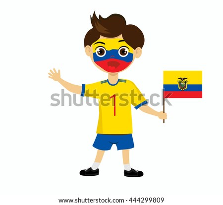 Fan of  Ecuador national football team, sports. Boy with flag  in the colors of the national command with sports paraphernalia. #444299809