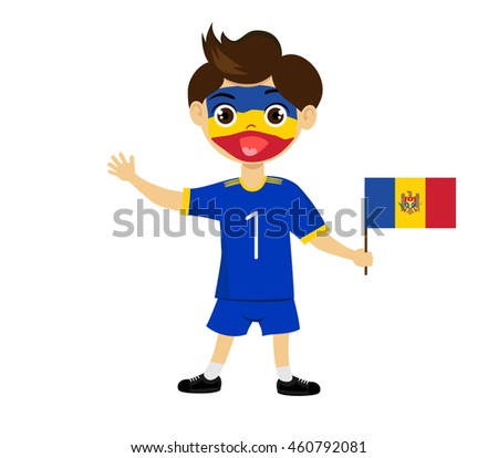 Fan of Moldavia national football team, sports. Boy with flag in the colors of the state command with sports paraphernalia. #460792081