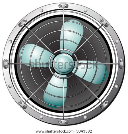 Fan protected by a metal grid over white background