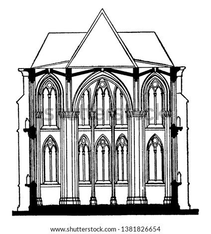Fan-Tracery of Cloisters of Gloucester Cathedral, cathedral church of St. Peter, the holy, undivided trinity,  Romanesque architecture, vaulting, vintage line drawing or engraving illustration.