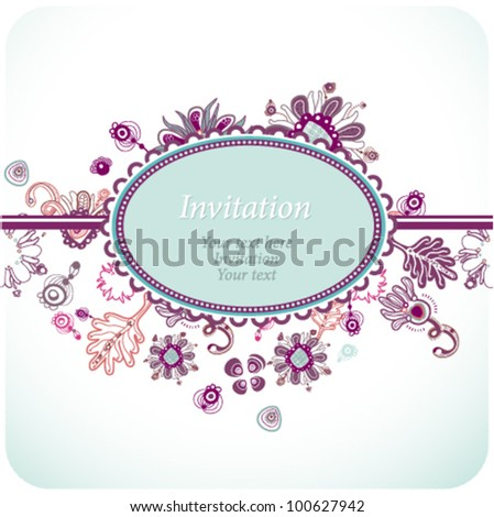 Fanciful floral invitation or greeting card. (vector 10)
