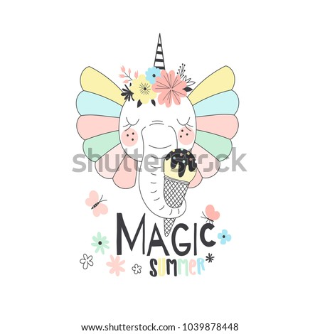 fancy cute elephant unicorn with ice cream, fairy illustration for kids, t-shirt graphic