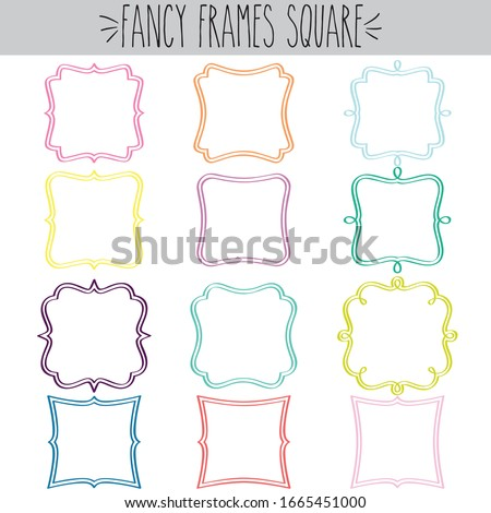 Fancy decorative blank square frames double line border colored outline label, Classic vintage curvy  doodle clear stickers, Pretty greeting tag Invitation, Retro empty logo