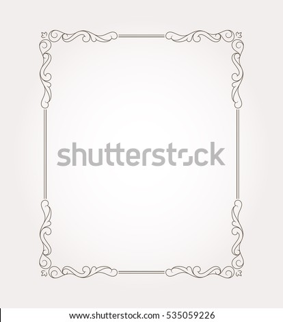 Fancy frame border and page ornament. Decorative design element. Vector illustration