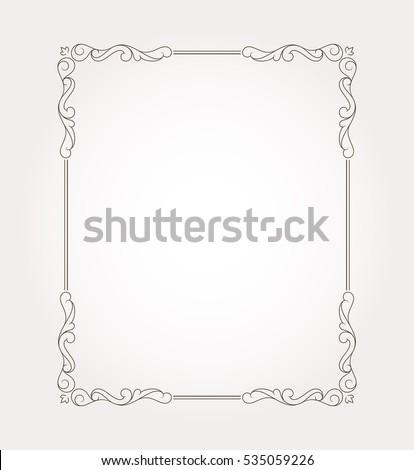 Fancy frame border and page ornament. Decorative design element. Vector illustration