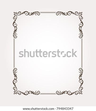 Fancy frame border. Decorative floral ornament. Vector illustration #794843347