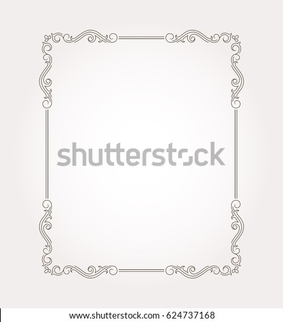Fancy frame border. Floral page ornament with decorative design elements. Vector illustration #624737168