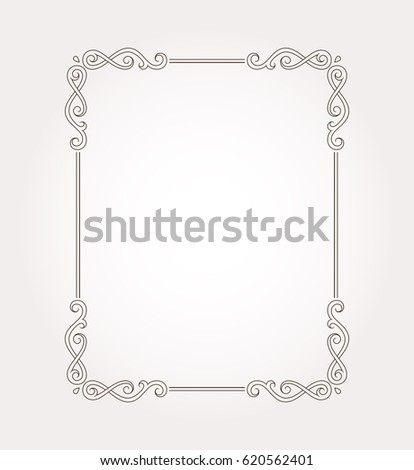 Fancy frame border. Page ornament with decorative design elements. Vector illustration #620562401