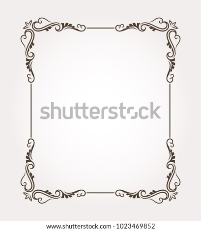 Fancy frame border with decorative ornament. Vector illustration #1023469852