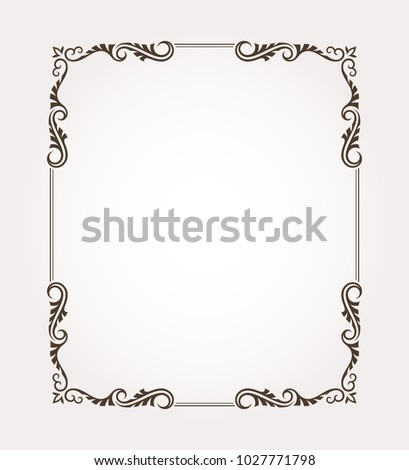 Fancy frame border with decorative ornament. Vector illustration #1027771798