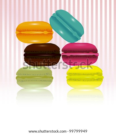 Fancy French macaroons on candy-stripe background with space for your text. EPS10 vector format.