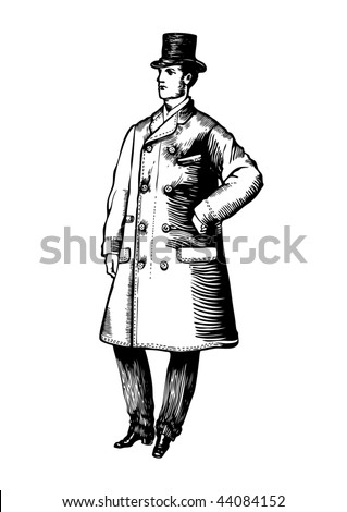fancy man 19 century. vector illustration