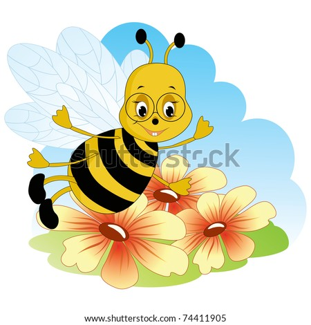 Fanny bee. Baby cartoon vector.