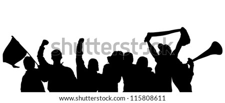 Fans Cheering Silhouette On White Background Stock Vector ...