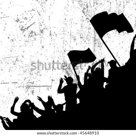 fans crowd - stock vector