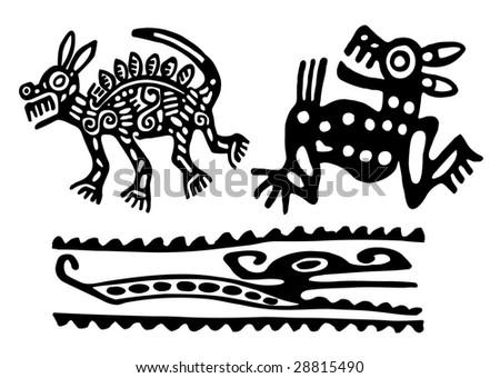 Fantastic animals and birds of Aztecs
