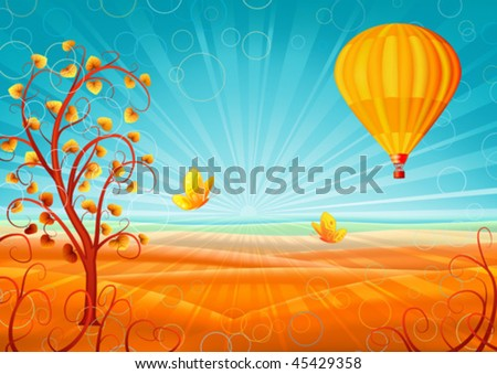 Fantastic autumn scenery with a tree, hot air balloon and butterflies (other landscapes are in my gallery)