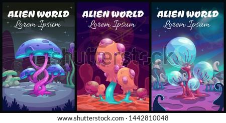 Fantastic background. Fantasy cartoon alien world landscape. Magic book covers set. Vector mystery planet illustration.