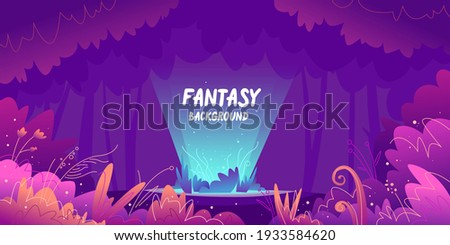 Fantastic background with various unusual plants. Horizontal landscape. The vector illustration depicts nature in a cartoon style.
