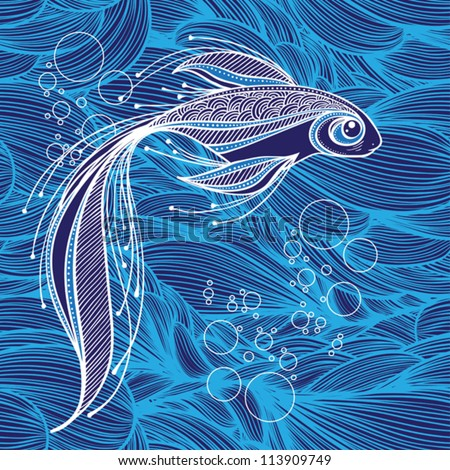 fantastic fish on the background of waves