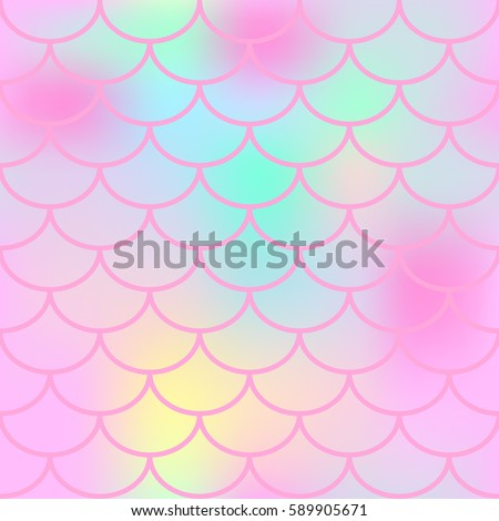 Fantastic fish skin with scale pattern. Mermaid vector background. Fish scale seamless pattern in pink color. Candy colored mermaid tail backdrop. Marshmallow color mix. Pink seamless pattern tile