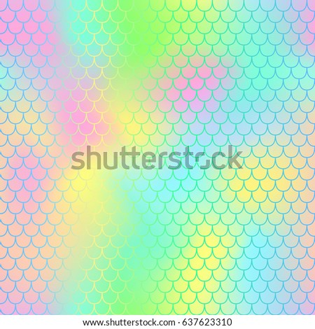 Fantastic fish skin with scale pattern vector background. Mermaid tail seamless pattern for packaging or surface design. Candy colored seamless background for nursery design. Seamless colorful mesh