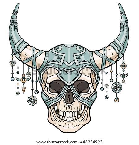 fantastic horned human skull in