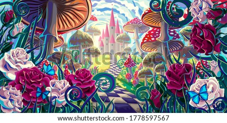 """fantastic landscape with mushrooms, beautiful old castle, red and white roses and butterflies. illustration to the fairy tale """"Alice in Wonderland"""""""