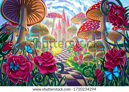 """fantastic landscape with mushrooms, beautiful old castle, red roses and butterflies. illustration to the fairy tale """"Alice in Wonderland"""""""