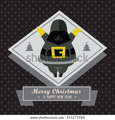 Stock Photo Fantastic Movie Christmas  and New Year Stickers Card. Black Background