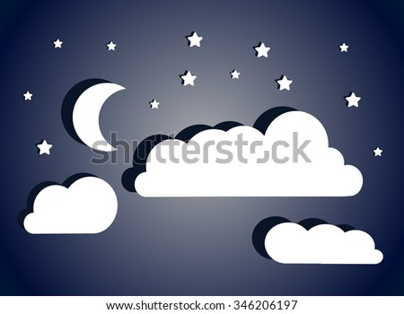 fantastic night sky with moon