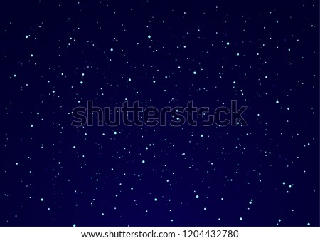 Fantastic night starry sky. Colorful background with bright lights and scattered particles and glowing stars. Creative design. Vector illustration.