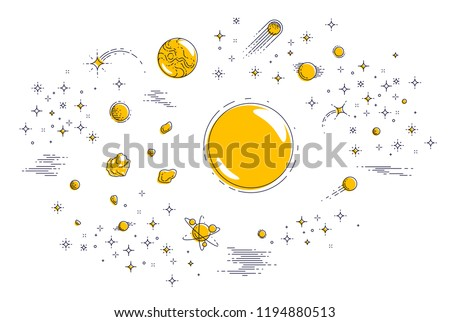 Fantastic planets in undiscovered galaxy with stars and other elements. Explore universe, breathtaking space science. Thin line 3d vector illustration isolated on white.