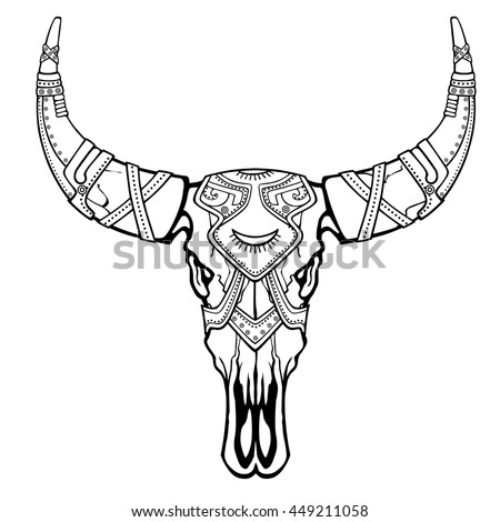 bull head coloring page - royalty free day of the dead sugar skull bull head