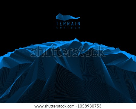Fantastic space planet terrain vector illustration, cosmos science fiction great 3d design. Usable as abstract background with copy space for title and text.