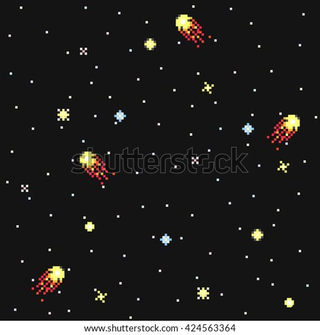 fantastic starry sky in pixel