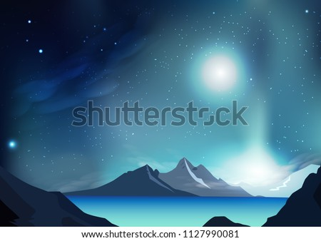 Fantasy abstract background vector illustration with planet and galaxy space, stars scatter on milky way, nature landscape concept