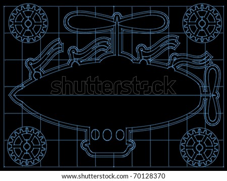 Fantasy Airship Blueprint Gears, Flags Outline On Grid editable vector illustration