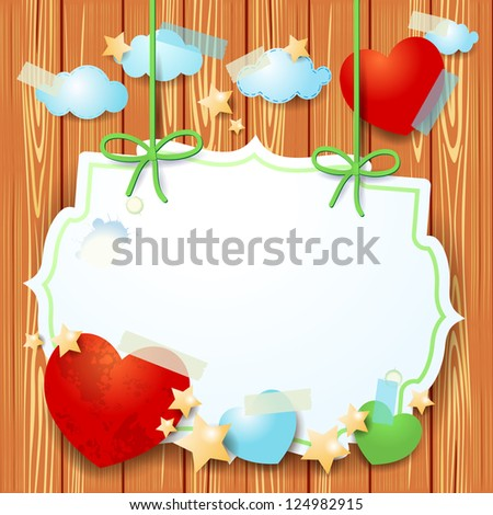 Fantasy background with custom label and hearts, vector