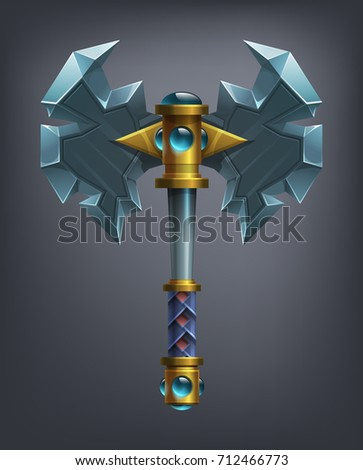 Fantasy battle axe weapon for game or cards. Vector illustration.