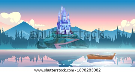 Fantasy blue castle on rock at morning. Vector cartoon mountain landscape with magic royal palace with towers, forest and lake with fog and boat. Fairytale illustration with medieval castle on cliff