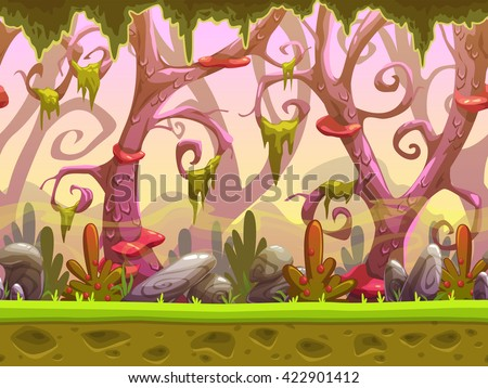 stock vector fantasy cartoon forest seamless landscape ready for game animation vector background with 422901412 - Каталог — Фотообои «Для детской»