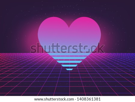 Fantasy cosmic virtual reality retrofuturistic cyber landscape of arcade video game with neon laser grid and heart. Synthwave/ vaporwave/ retrowave style illustration.