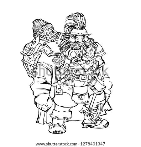 Stock Photo Fantasy dwarf engineer. Outline fairy character. Man with beard, iroquois, backpack, lantern, boots, axe. Black outline gnome for coloring book. Creature for wonder land.