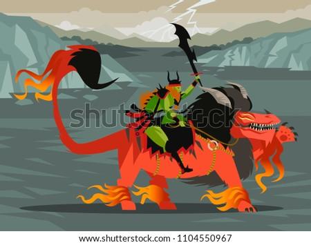 fantasy evil warrior riding a