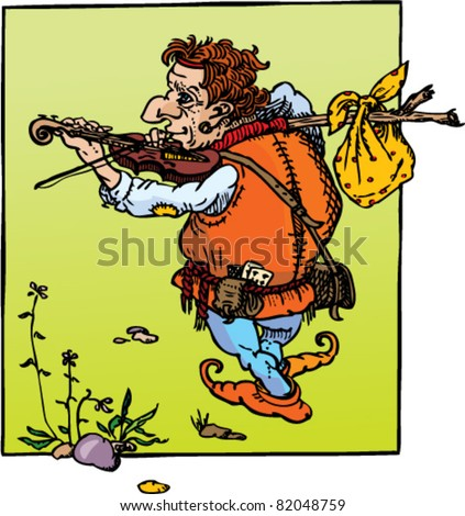 Fantasy fairy tail illustration: little hunchback playing violin