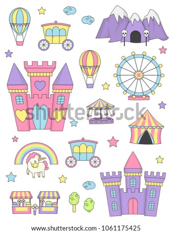 Fantasy fairy tale world princess castle items and design elements collection. Dragon cave, coach, unicorn rainbow, flowerbooth, funfair and other isolated elements.